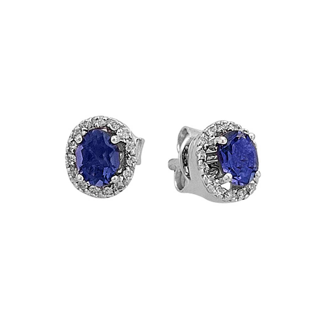 Diamond and Oval Sapphire Stone Earrings