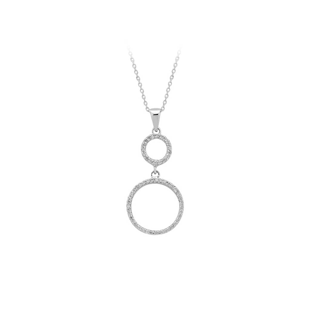 Diamond Stone Large Hoop Necklace