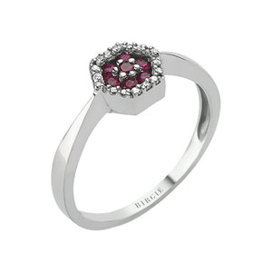 Diamond Ruby Hexagon Ring