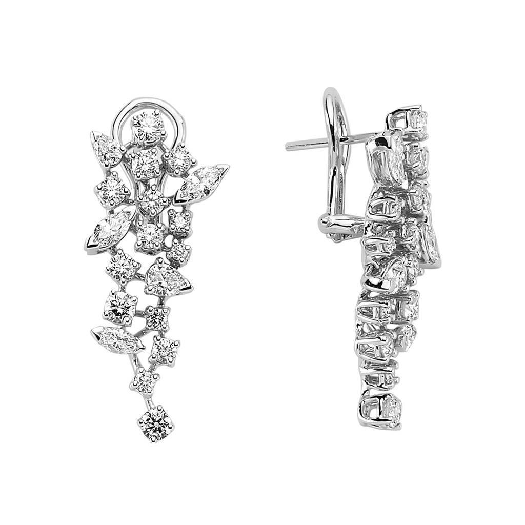 Marquise and Drop Cut Stone Diamond Earrings