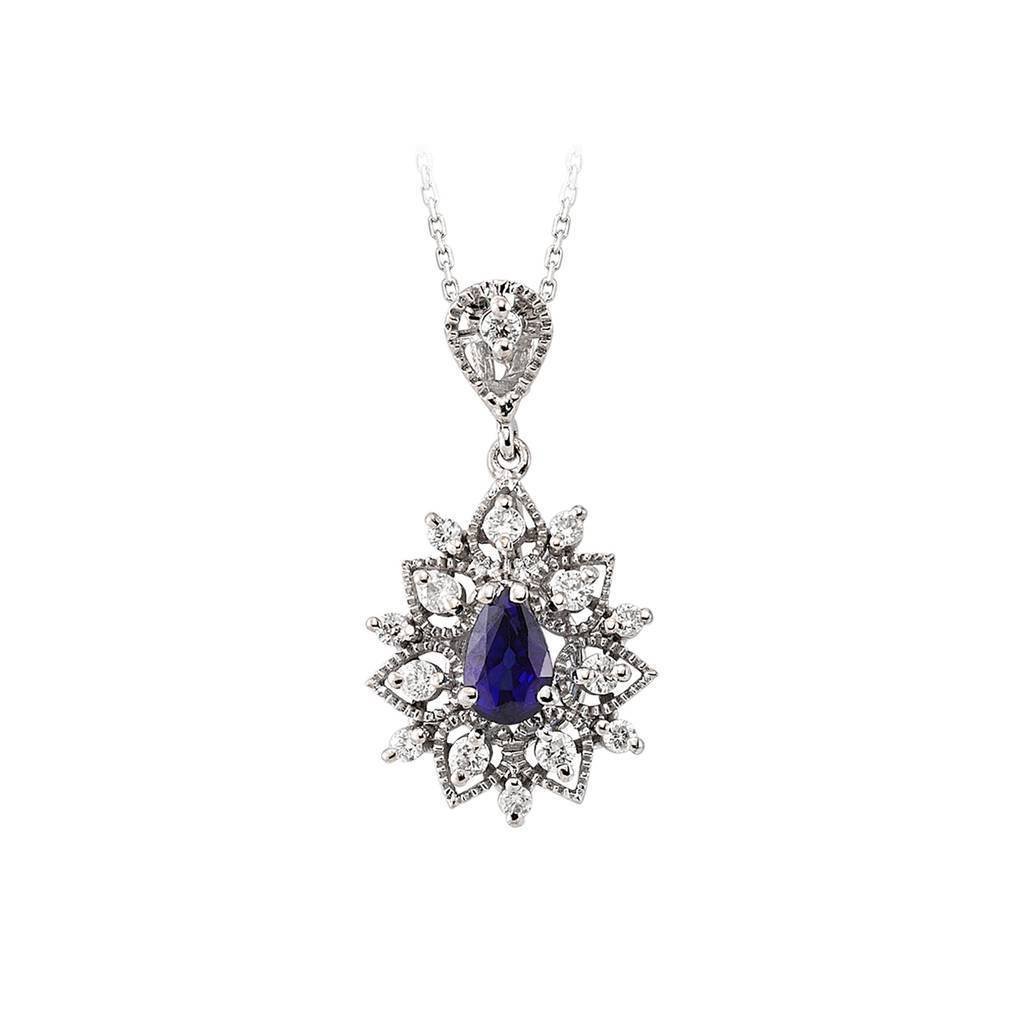 Drop Shape Sapphire and Diamond Floral Pendant with Chain in 18K Gold