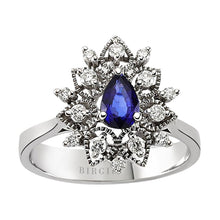 Load image into Gallery viewer, Drop Shape Blue Sapphire and Diamond Floral Ring in 18K Gold