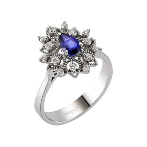 Drop Shape Blue Sapphire and Diamond Floral Ring in 18K Gold