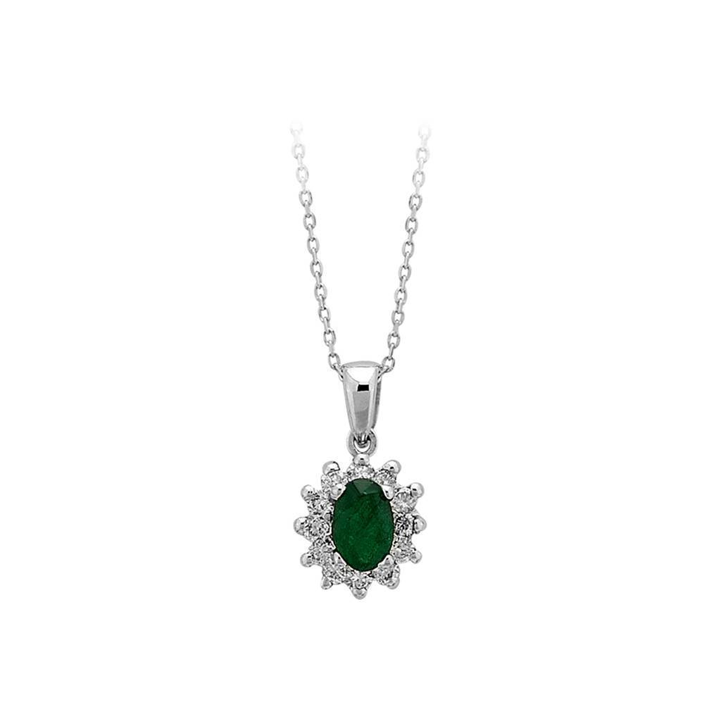 Diamond and Oval Emerald Stone Necklace