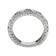 Load image into Gallery viewer, Diamond and Sapphire Stone Eternity Ring