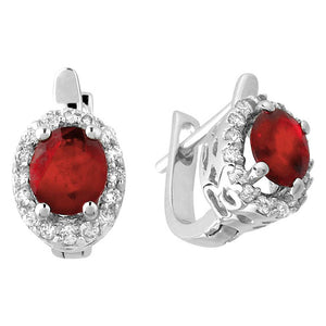 Diamond and Oval Ruby Stone Earrings