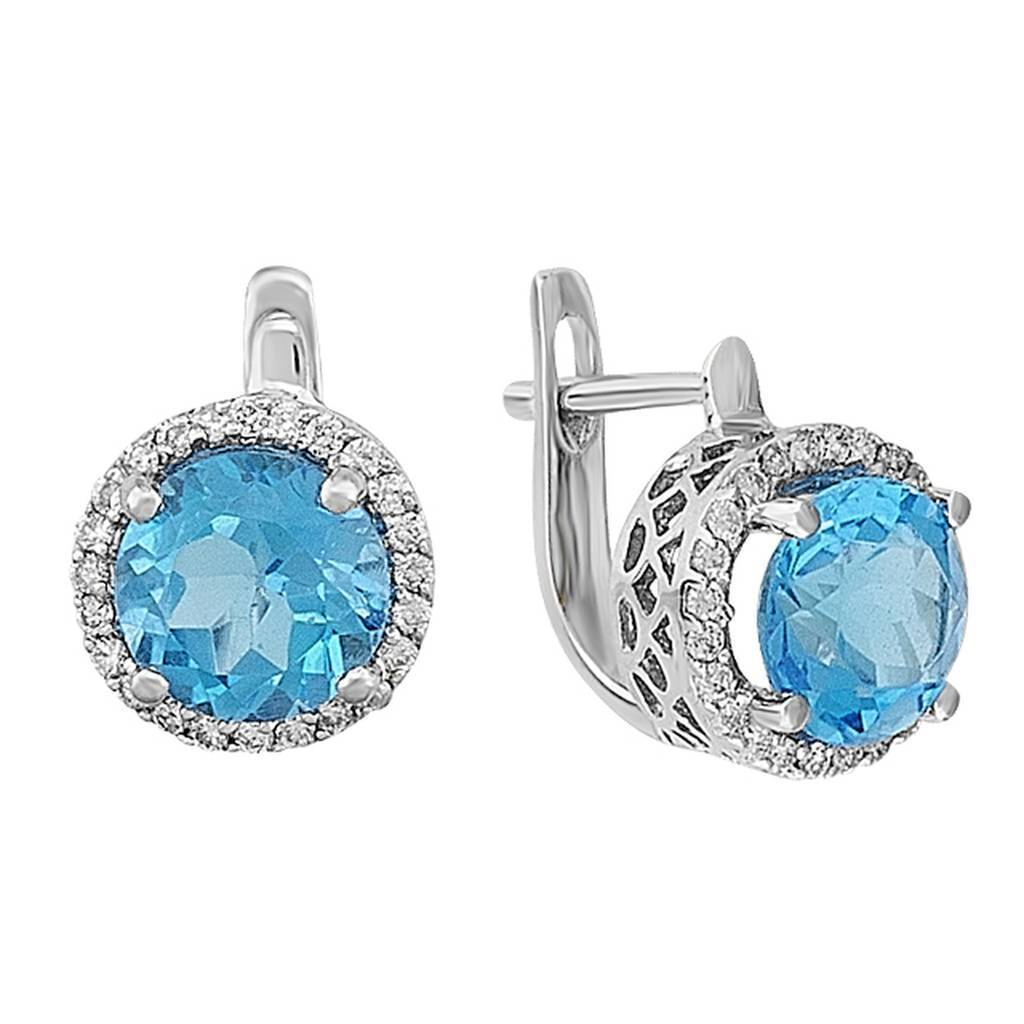 Diamond and Blue Topaz Stone Earrings