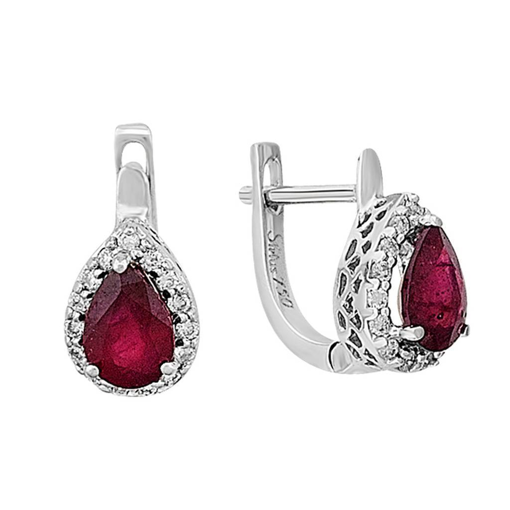 Diamond and Drop Ruby Stone Earrings