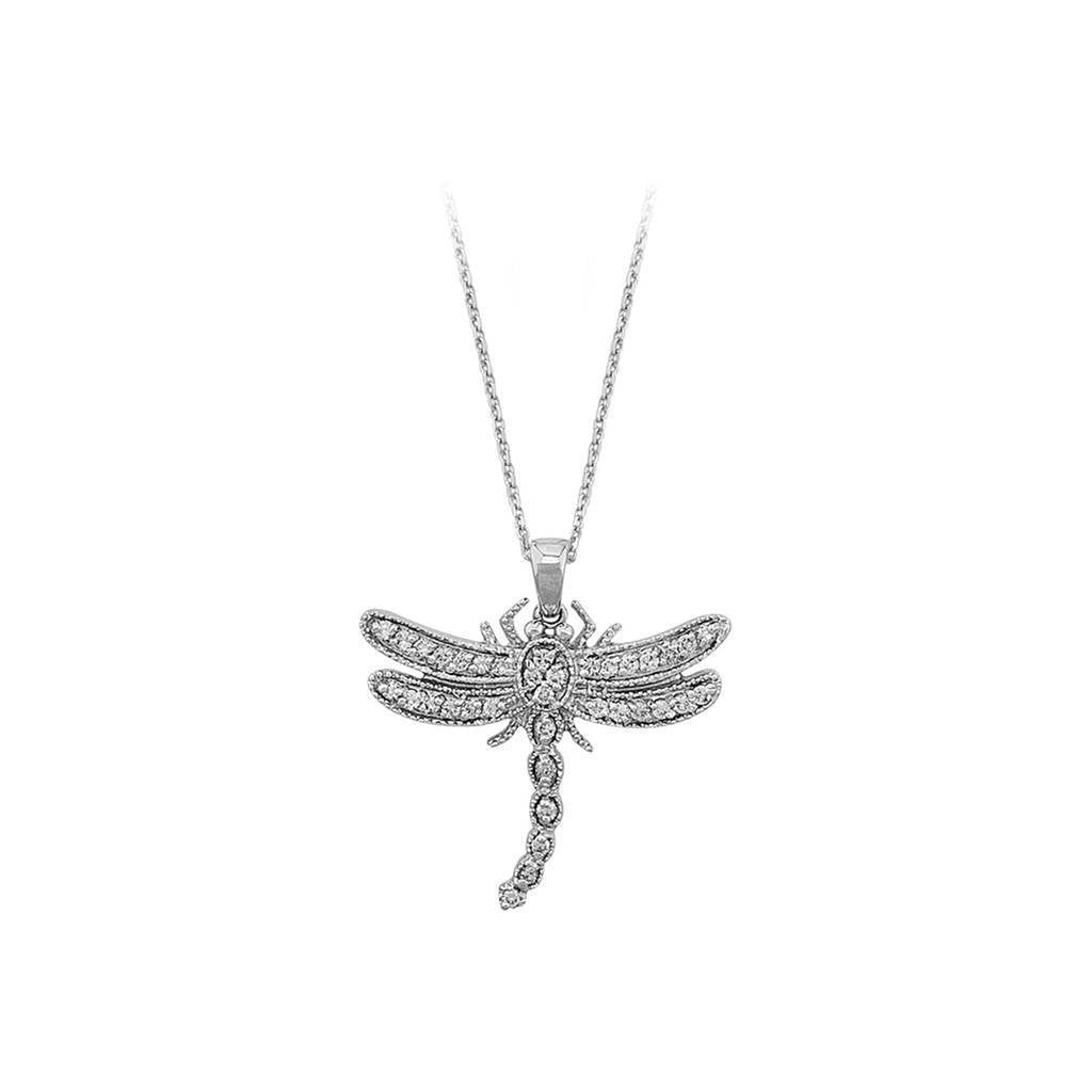 Diamond Stone Large Dragonfly Necklace
