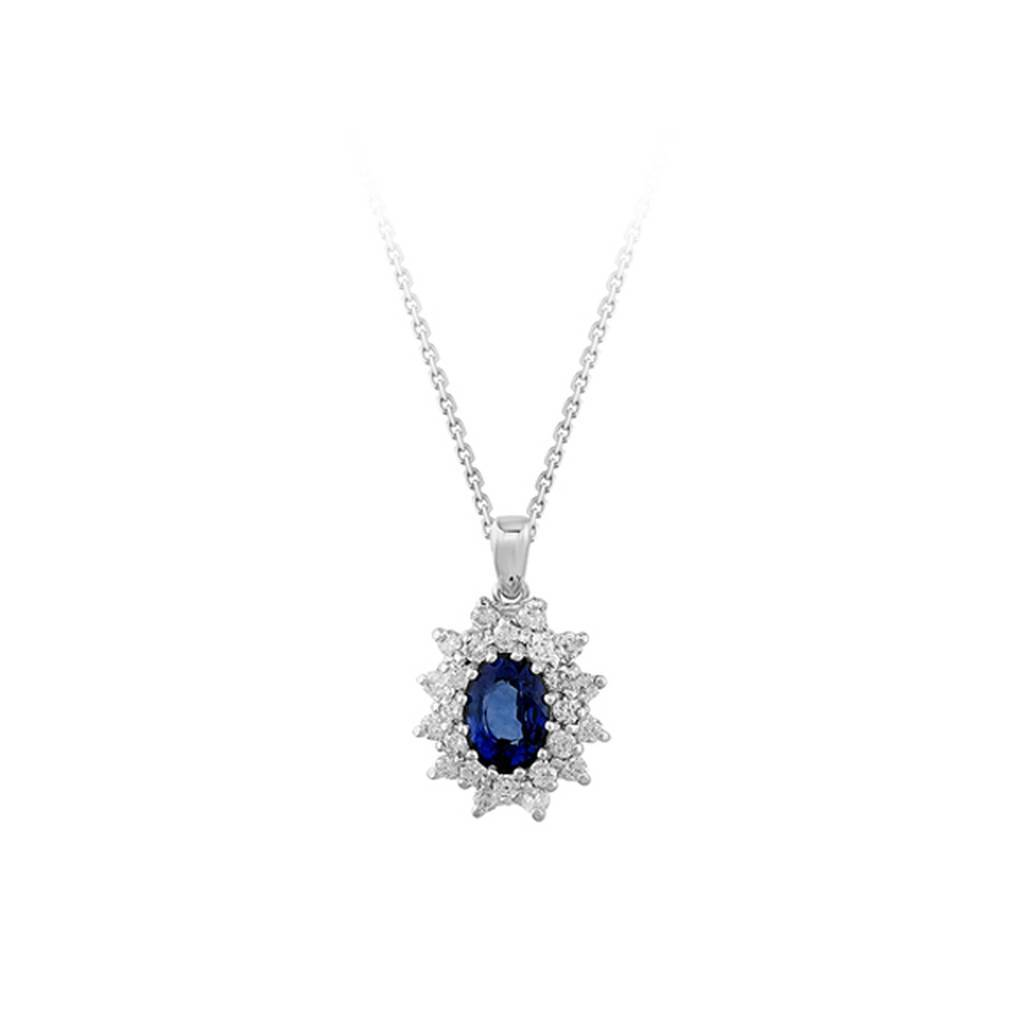Double Lined Diamond and Oval Sapphire Necklace