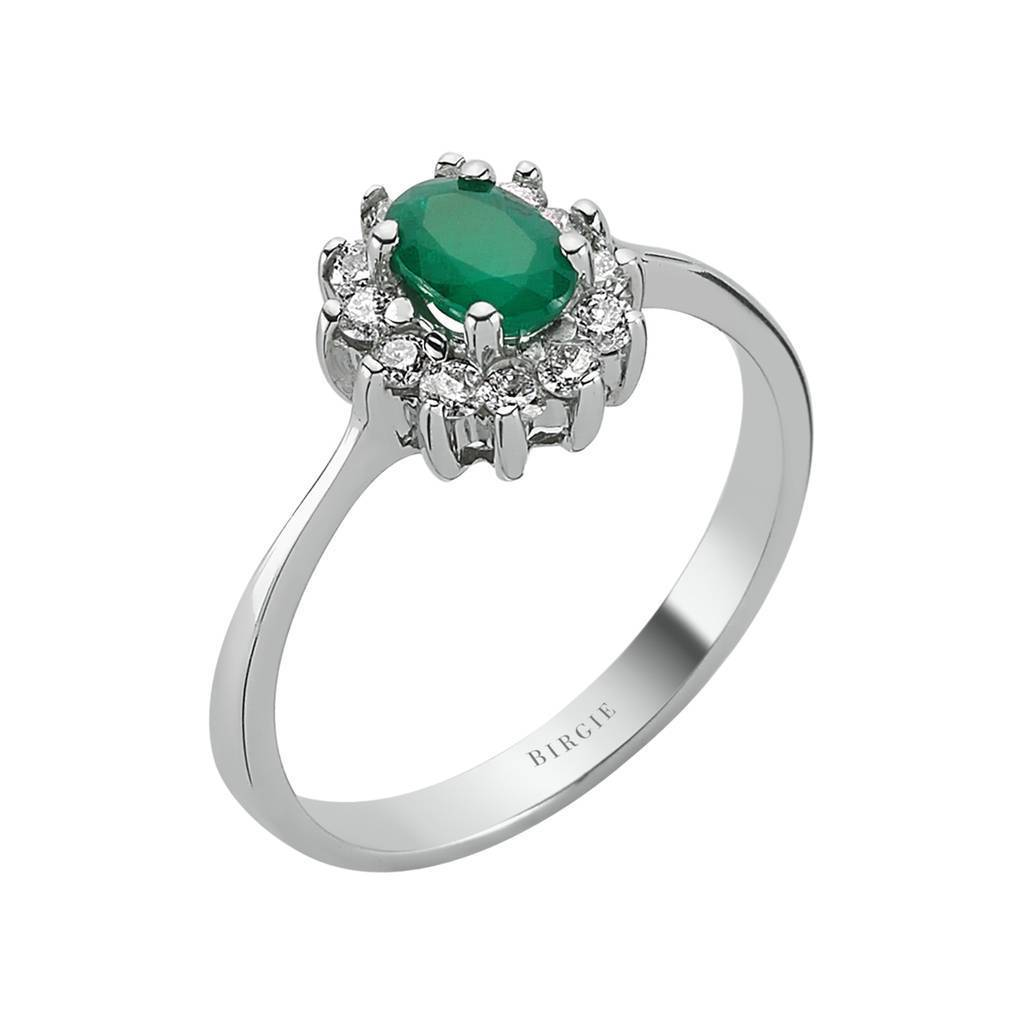 Oval Emerald and Diamond Cluster Design Entourage Ring in 18K Gold