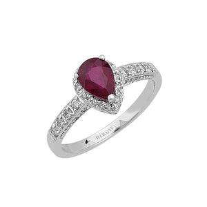Diamond and Drop Ruby Stone Ring