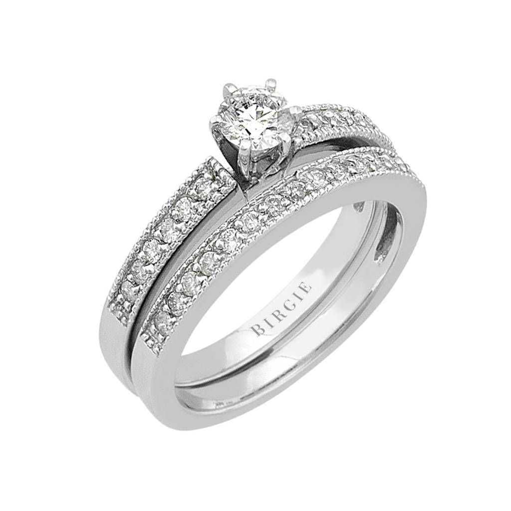 Diamond Cathedral Engagement Ring & Matching Band 18K Gold (0.63ct. TW)