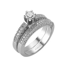 Load image into Gallery viewer, Diamond Solitaire Engagement Ring & Matching Band (0.96ct. TW)