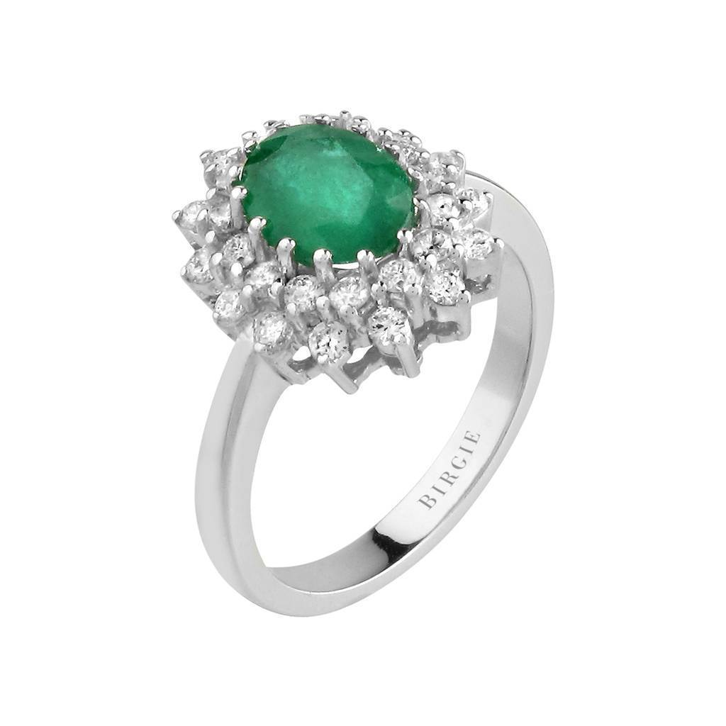 Oval Emerald and Diamond Double Cluster Entourage Ring