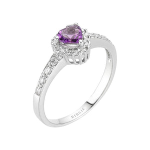 Diamond and Heart Amethyst Stone Ring
