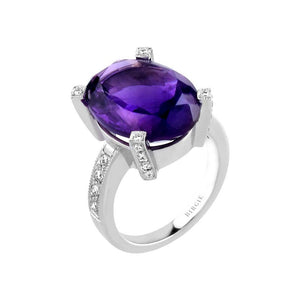 Diamond and Large Oval Amethyst Stone Ring