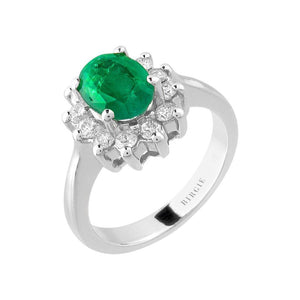 Oval Cut Emerald and Diamond Cluster Design Entourage Ring