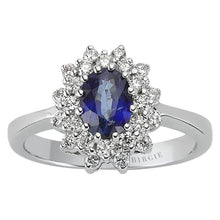 Load image into Gallery viewer, Oval Cut Blue Sapphire and Diamond Double Cluster Design Ring