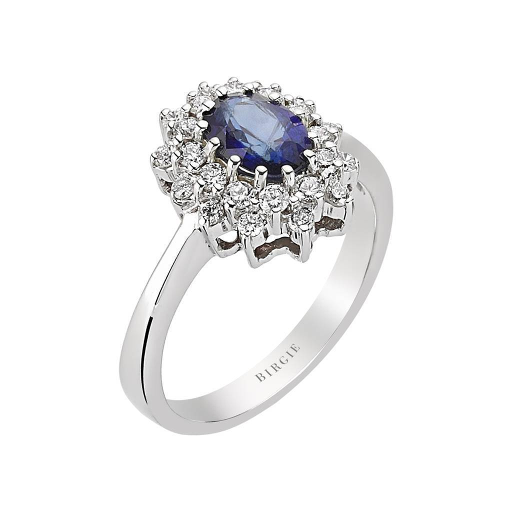 Oval Cut Blue Sapphire and Diamond Double Cluster Design Ring