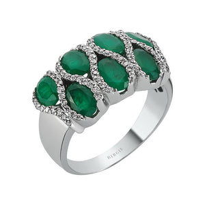 Diamond and Oval Emerald Stone Ring