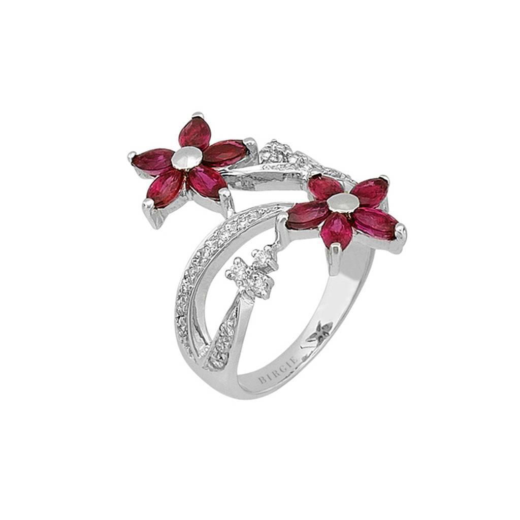 Diamond and Marquise Cut Ruby Stone Ring