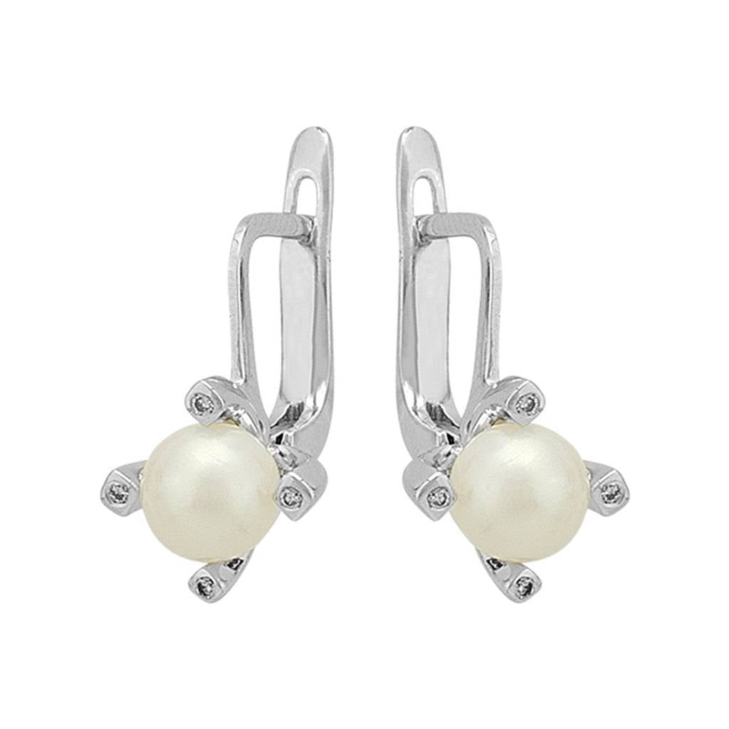 Diamond and Drop Pearl Earrings