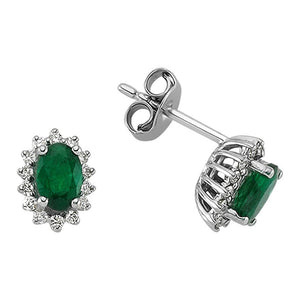 Diamond and Oval Cut Emerald Entourage Earrings