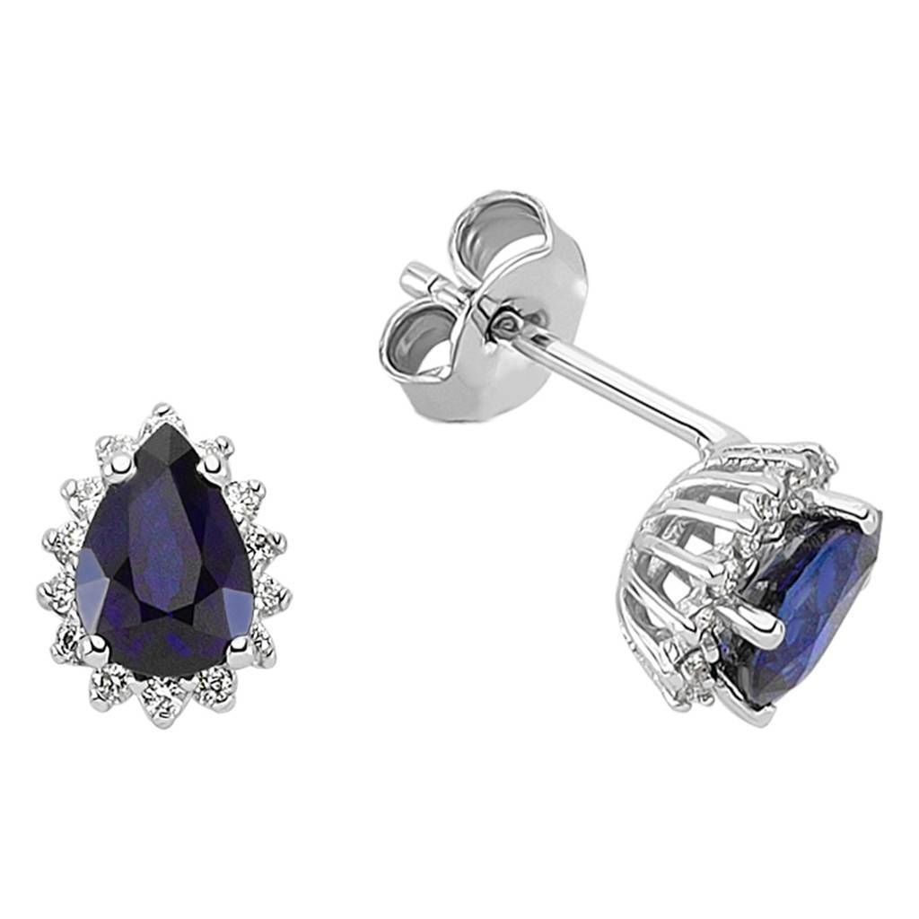 Diamond and Drop Sapphire Cut Entourage Earrings