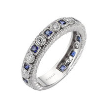 Load image into Gallery viewer, Diamond Sapphire Eternity Wedding Ring