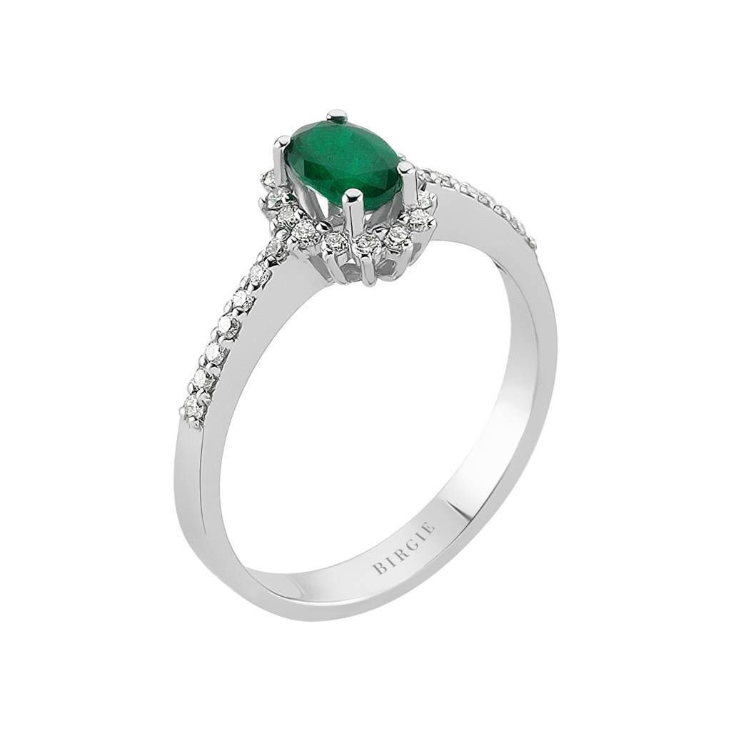 Diamond and Oval Cut Emerald Entourage Ring