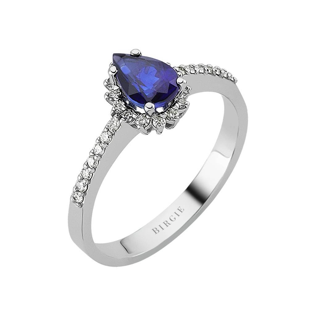 Diamond and Drop Cut Sapphire Entourage Ring
