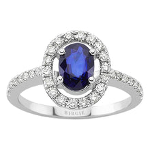 Load image into Gallery viewer, Diamond and Oval Cut Sapphire Ring