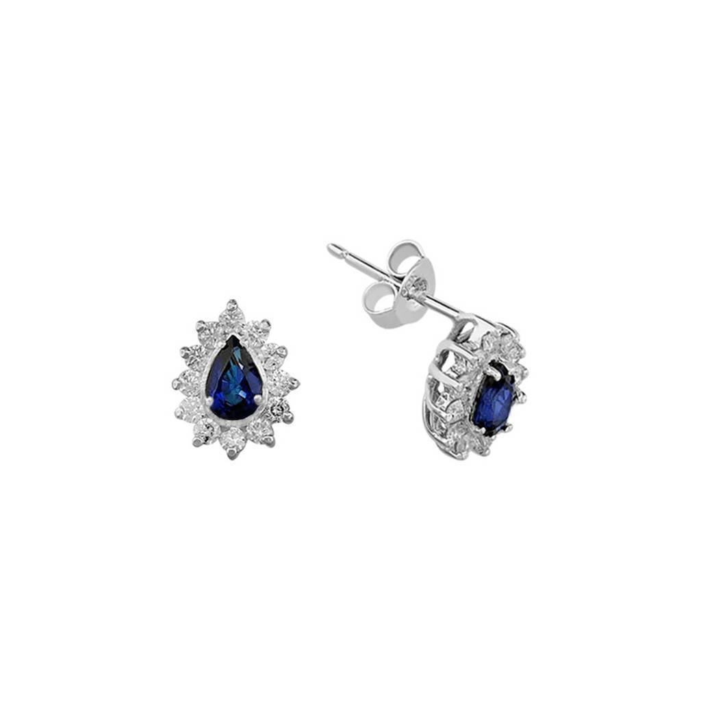 Diamond and Drop Sapphire Stone Earrings