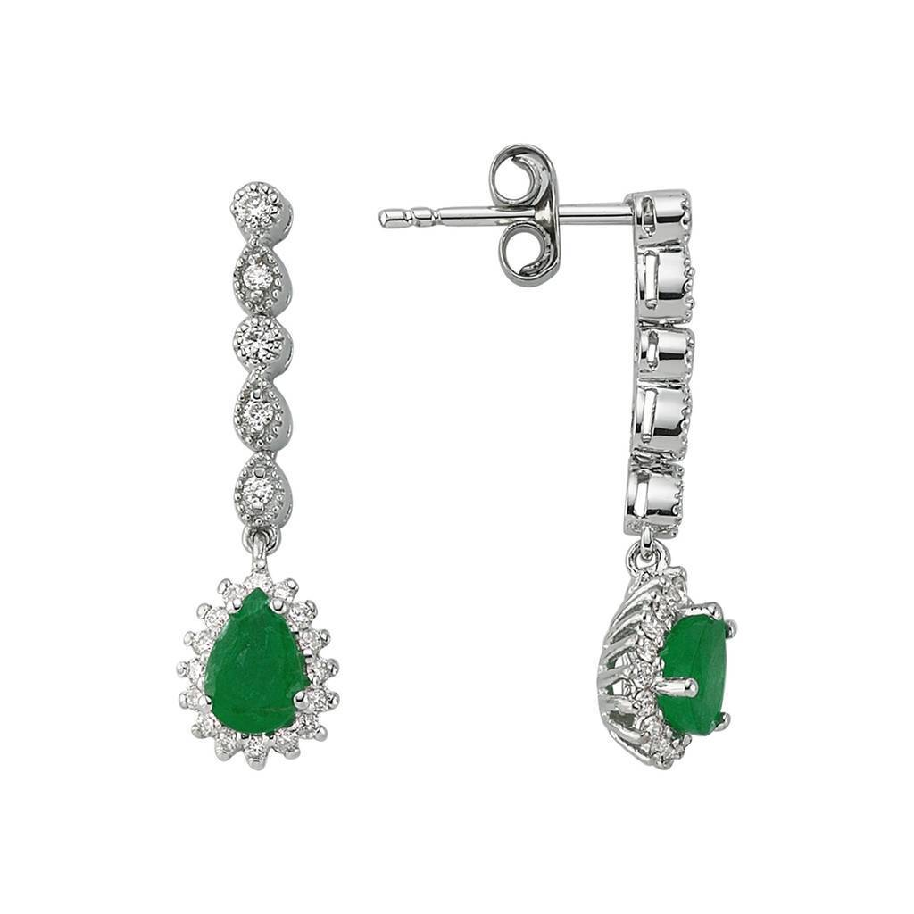 Diamond and Drop Emerald Stone Sleek Earrings