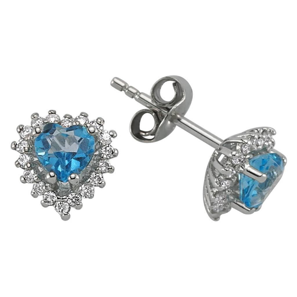 Diamond and Heart Blue Topaz Stone Earrings