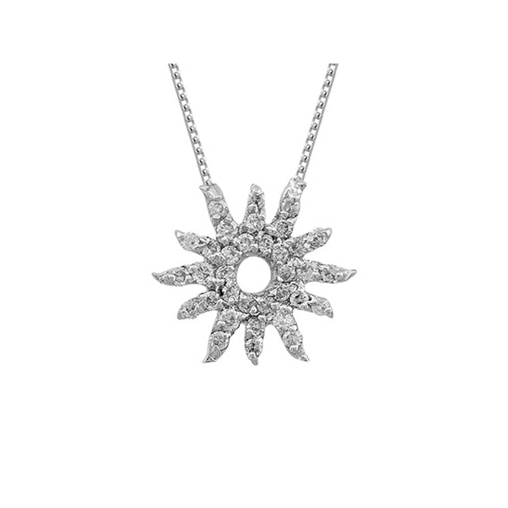 Diamond Stone Sun Necklace