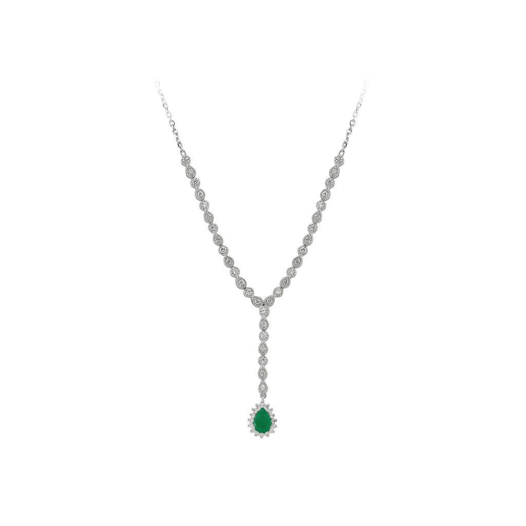 Diamond and Drop Emerald Stone Tennis Necklace