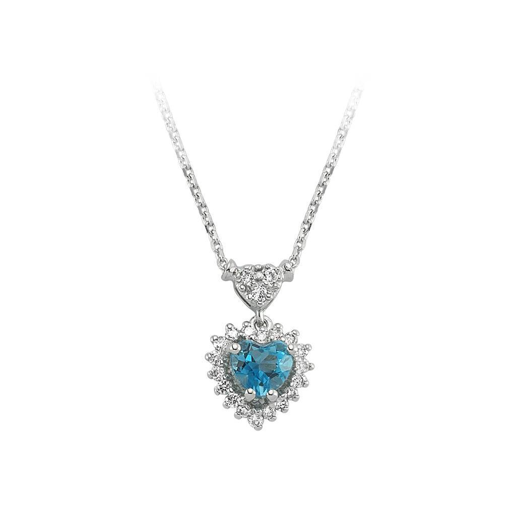 Diamond and Heart Blue Topaz Stone Necklace