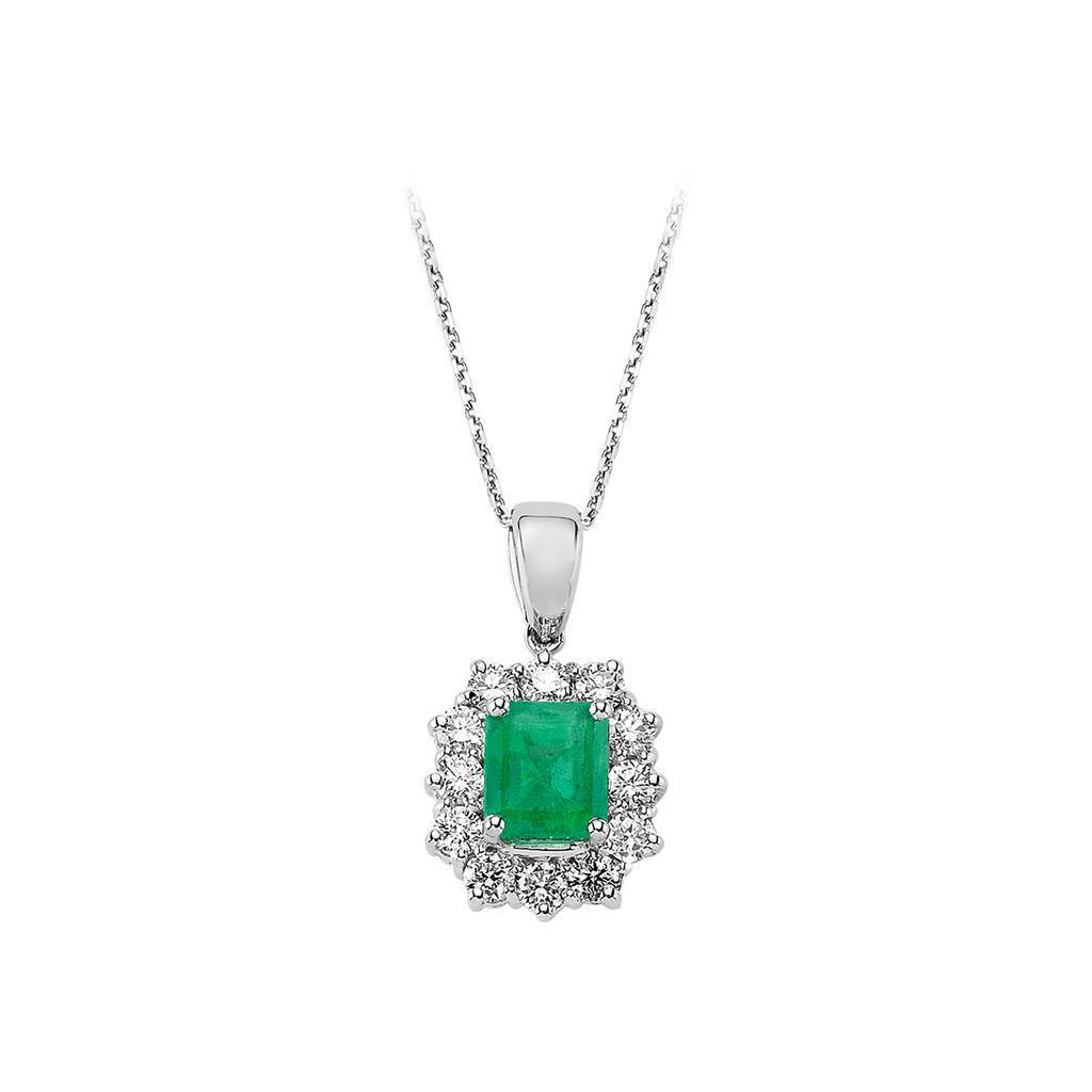 Diamond and Octagon Cut Emerald Necklace