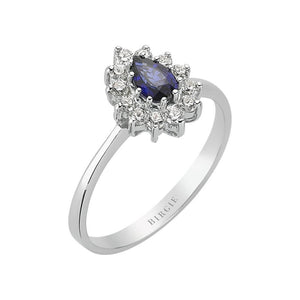 Drop Shape Blue Sapphire and Diamond Entourage Ring