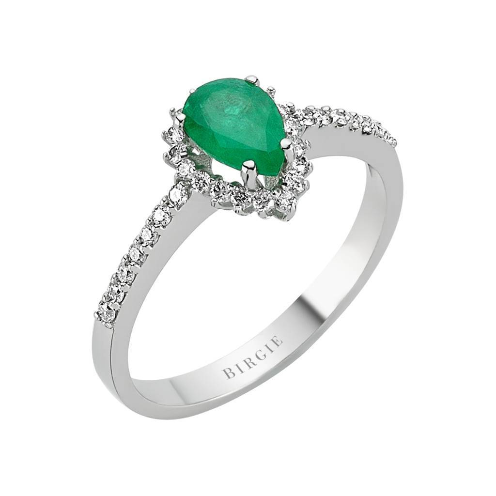 Diamond and Drop Cut Emerald Entourage Ring