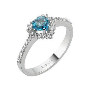 Heart Cut Blue Topaz and Diamond Ring
