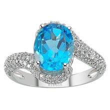 Load image into Gallery viewer, Diamond and Oval Blue Topaz Stone Ring