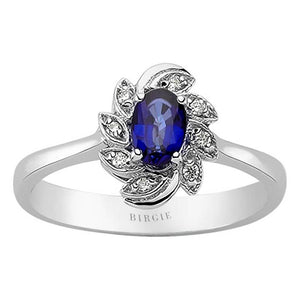 Diamond and Oval Cut Sapphire Ring