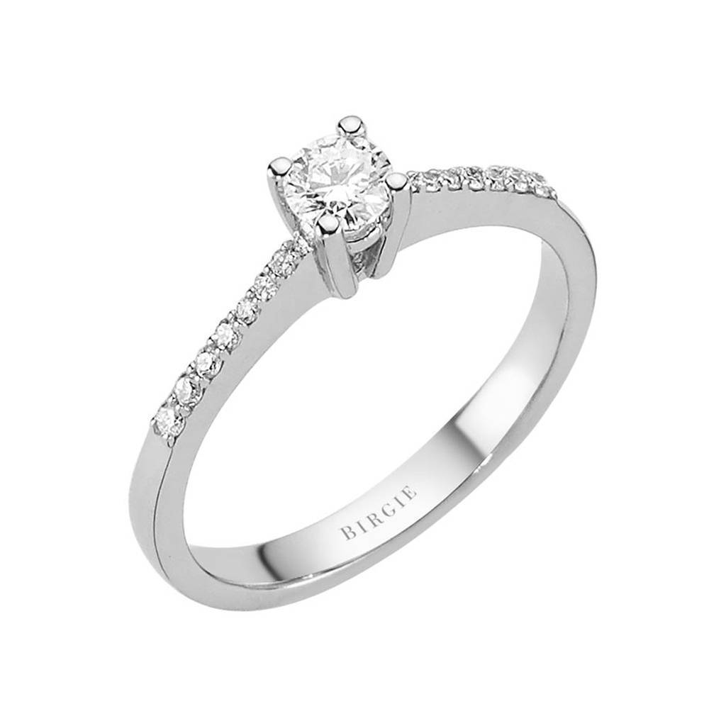 Total 0.34 Carat Diamond Halo Engagement Ring