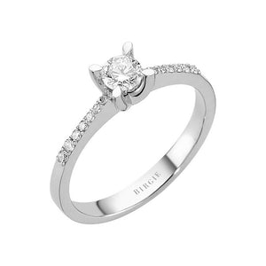 Total 0.39 Carat Diamond Halo Engagement Ring