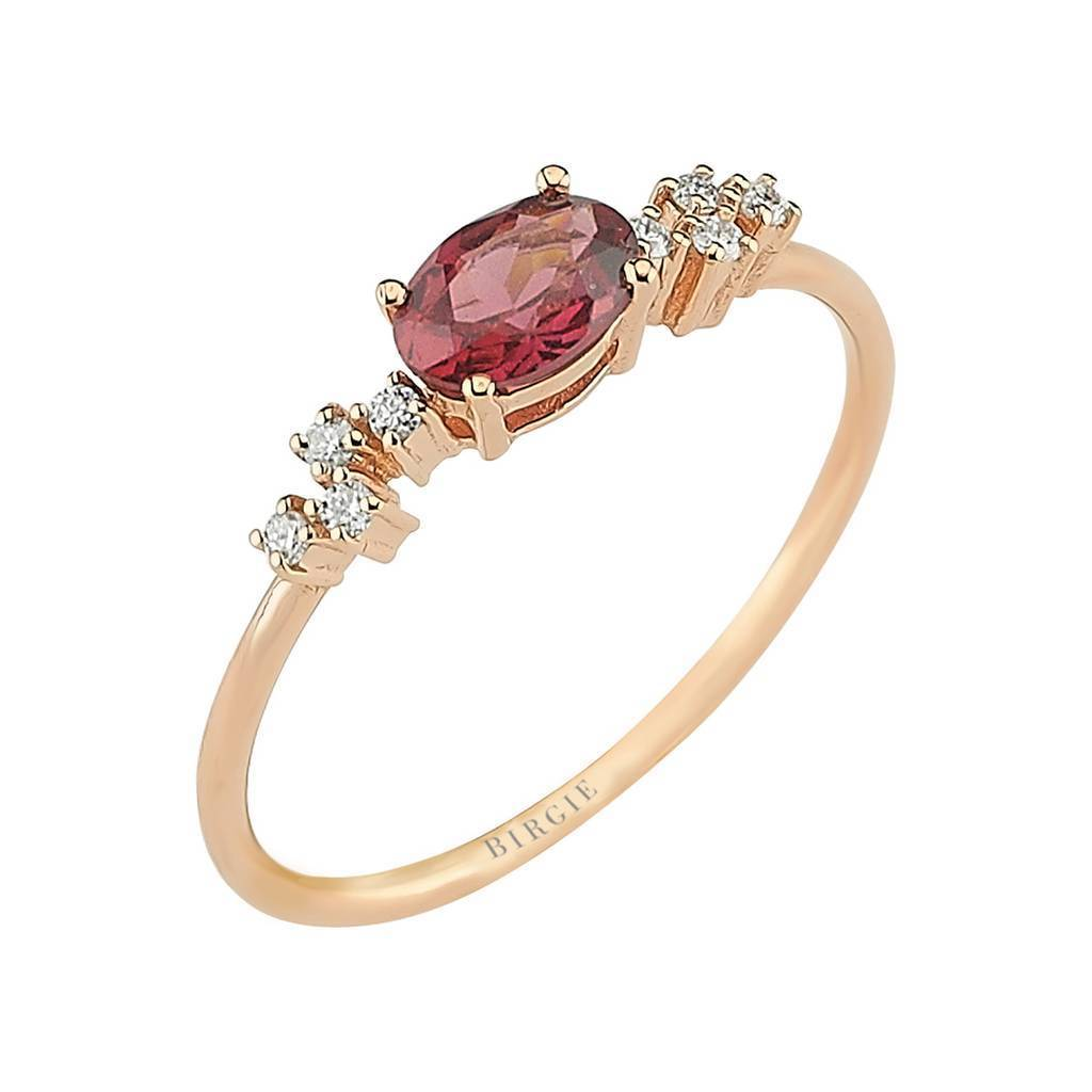 Oval Cut Pink Rhodolite and Diamond Ring