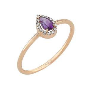 Drop Cut Amethyst and Diamond Ring