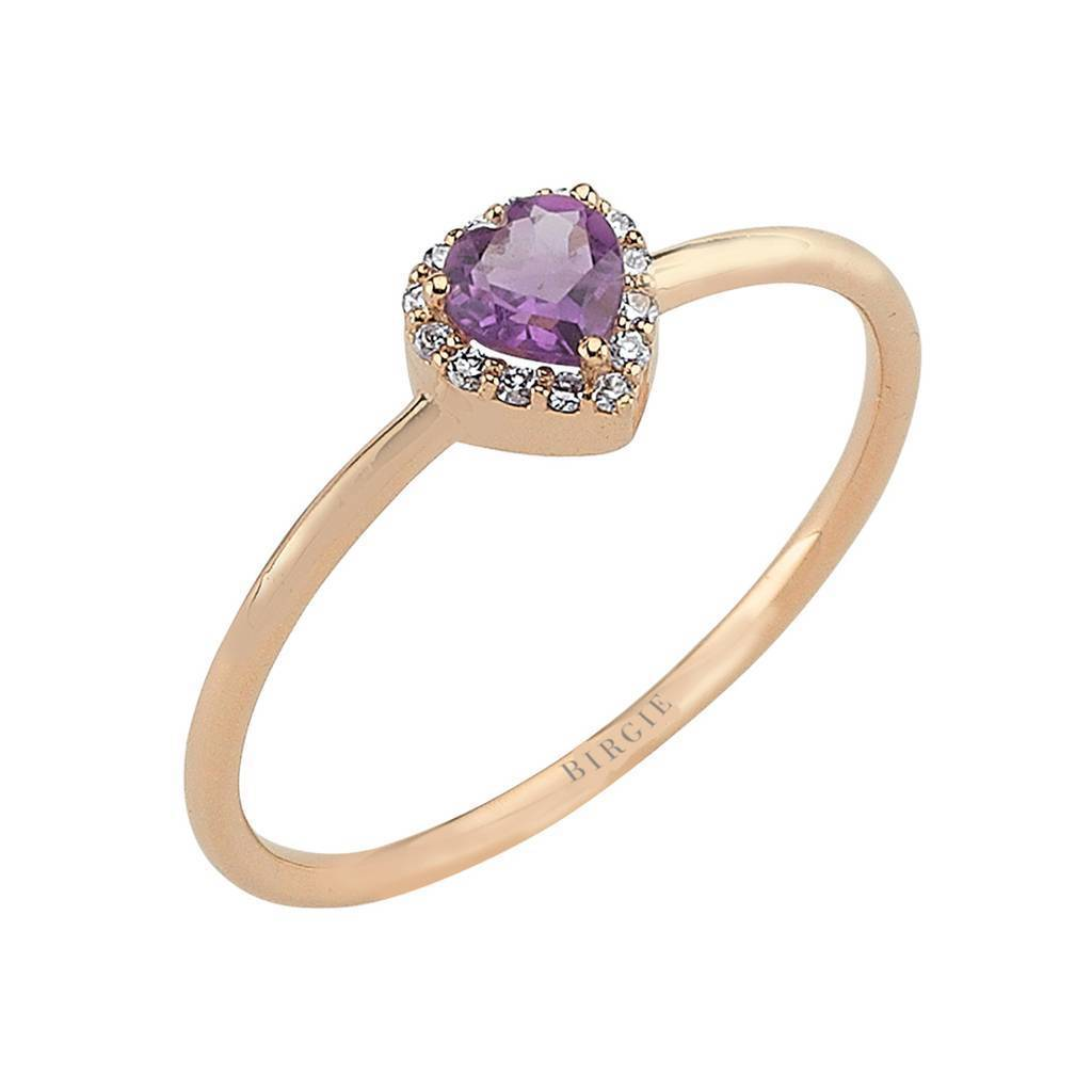 Heart Cut Amethyst and Diamond Ring